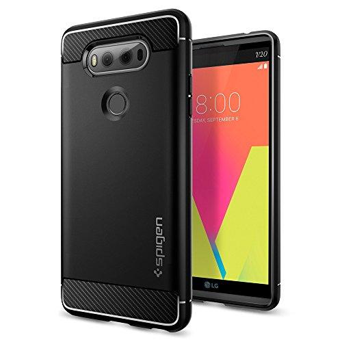 Spigen LG V20 Hülle, [Rugged Armor] Karbon Look [Schwarz] Elastisch Stylisch Soft Flex TPU Silikon Handyhülle Schutz vor Stürzen und Stößen Schutzhülle für LG V20 Case Cover Black (A20CS20920)