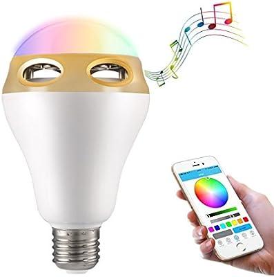 Bombilla LED Lámpara Bluetooth 4.0 Altavoz E27 Bombillas 16 Miliones de Colores luz Regulable con App Gratuita Controlada Compartible iPhone iPad y Smartphones Android