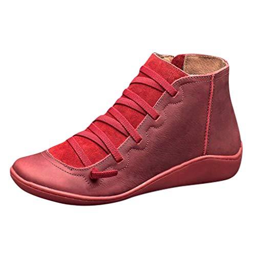 Dorical Übergrößen Schnürstiefeletten für Damen,Frauen Biker Boots Schnür Stiefel Kunstlederstiefel Damenstiefel mit Reißverschluss Gr 35-43(Rot,42 EU)