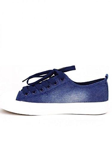 Cendriyon, Basket Bleue Jean FTP écussons Chaussures Femme Bleu
