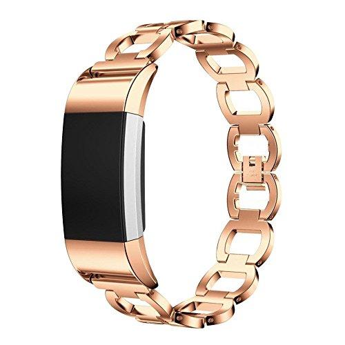 Preisvergleich Produktbild Fitbit Charge 2 Armband, iHee 2017 Neue Stylish Edelstahl Uhren Armband für Fitbit Charge 2 (Rose Gold)