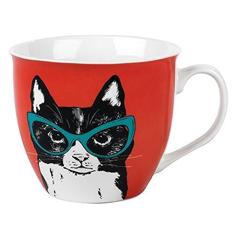 Cambridge CM054911 Oxford Cat in Glasses Mug, Fine China, Multicoloured, 11 x 5.5 x 8.5 cm