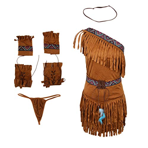 MagiDeal Damen Sexy Indianerin-Kostüm lang Indianer-Kostüm Kämpferin Prinzessinnen Kostüm Halloween Faschingskostüm Karnevalskostüm - Khaki, XL