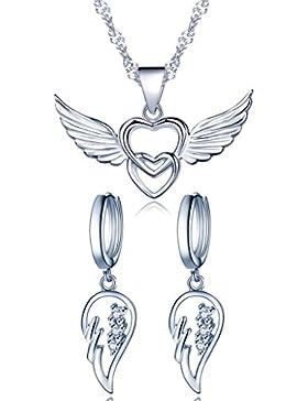 Yumilok 925 Sterling Silber Zirkonia Engelsflügel Doppel Herzen Ohrhänger Halskette Schmuck Set Ohrringe Kette...