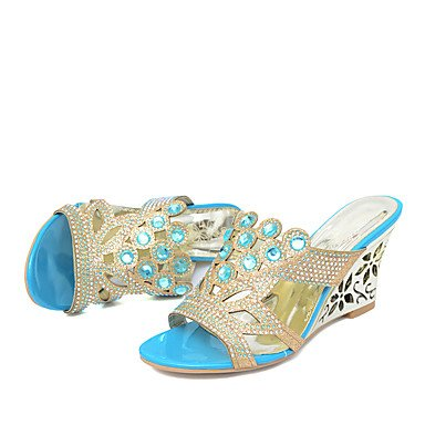 LQXZM La femme Chaussons & amp ; tong sandales Slingback PU Synthétique Été Automne occasionnels Talon robe strass bleu or 2in-2 3/4 Pool