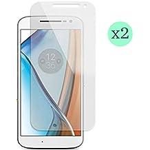 (Pack de 2) Protector de pantalla Cristal templado para Motorola Moto G 4º Generación (versión 2016) Calidad HD, Grosor 0,3mm, Bordes redondeados 2,5D, alta resistencia a golpes 9H. No deja burbujas en la colocación (Incluye instrucciones y soporte en Español)