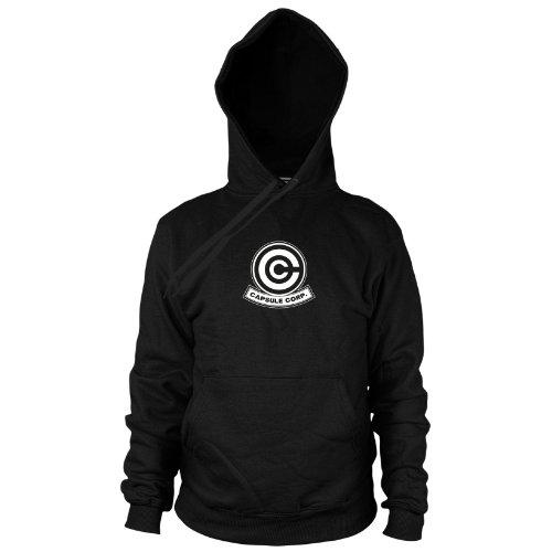 DBZ: Capsule Corp - Herren Hooded Sweater, Größe: L, Farbe: schwarz (Dbz Bulma Kostüm)