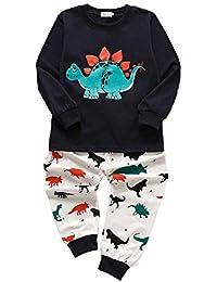 Pijamas de niños Dibujos Animados Dinosaur Cotton Manga Larga PJS Set para 1-7 años