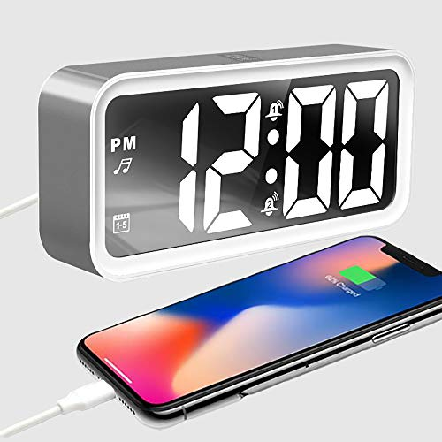 IKEAN Digital Alarm Clock Portable Mirror HD LED Time with White Noise Machine/Temperature/Snooze and USB Charging Port,3 Brightness,Suitable for Bedroom, Office, Travel(Sliver) (Clock Machine Noise Alarm)