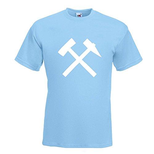 KIWISTAR - Bergbau - Glück auf! - Kumpel T-Shirt in 15 verschiedenen Farben - Herren Funshirt bedruckt Design Sprüche Spruch Motive Oberteil Baumwolle Print Größe S M L XL XXL Himmelblau