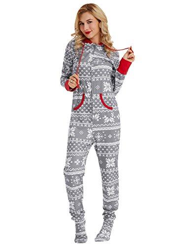 Zexxxy Schlafanzugn Weihnachten JumpsuitBodysuit mit Kapuze Nachtwäsche Grau XL