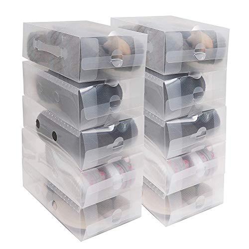 Kurtzy Zapatos apilable Plegable Organizador Transparente para Hombres y Mujeres Pack de 20 Cajas Ahorre...