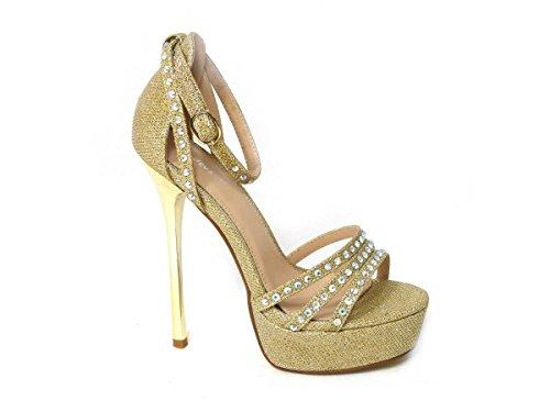 SKOS , Sandales pour femme Gold (013-10)
