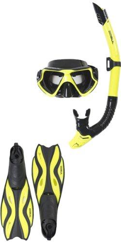 GUL Tarpon Taucher Maske/Schnorchel und Fin Set Gelb Gelb/Schwarz X-Large, 10-12 UK -