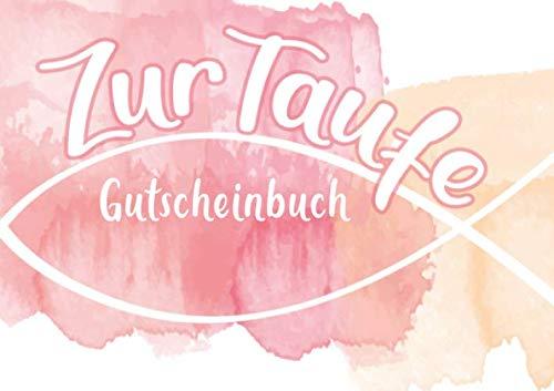Zur Taufe Gutscheinbuch: Blanko Gutscheinheft in pink/rosa, ein individuelles Eintragbuch als Geschenk zur Taufe für Paten und Familie (Mädchen)