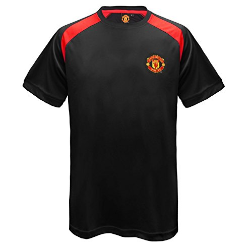 Manchester United F.C. Manchester United FC Official Gift Mens Poly Training Kit T-Shirt Black Large
