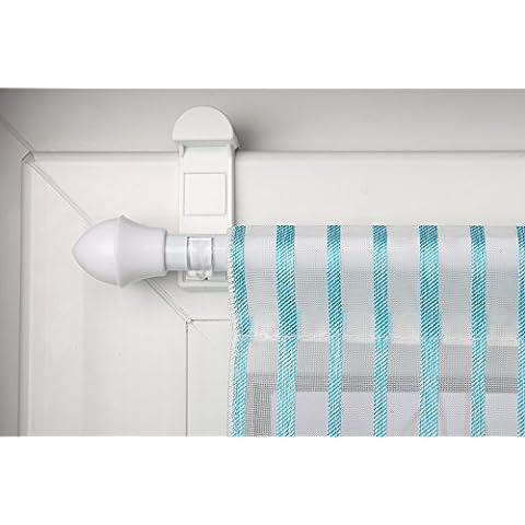 Asta per tende Bianco allungabile 125–215cm + morsetto per appenderla di tendina senza (Affitto Bath)