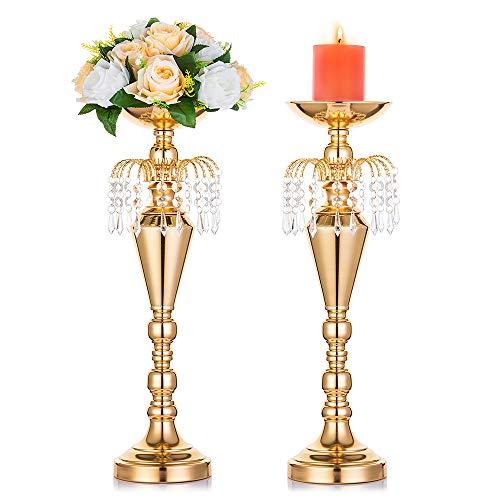 Nuptio 2 Stücke 52.5cm Höhe Vielseitig Metall Hochzeit Mittelstücke Vase & Säule Kerzenhalter für Hochzeit Abendessen Herzstück Ereignis für Empfangstische Hochzeit Liefert Dekoration