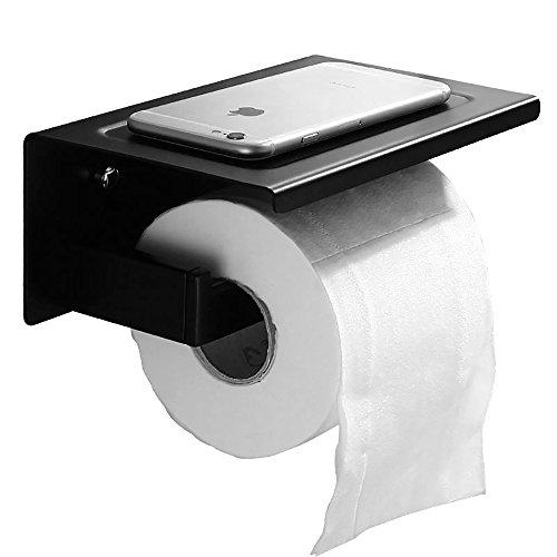 Toilettenpapierhalter Mit Ablage, OIZEN Hochwertiger SS304 Edelstahl  Toilettenpapier Schwarz Wandrollenhalter WC Papierhalter Klopapierhalter  Für Badezimmer