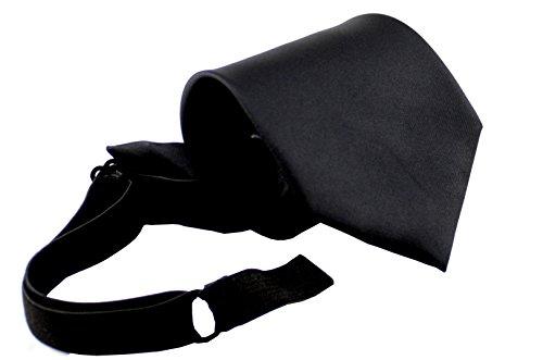 ADAMANT® Sicherheitskrawatte mit Gummizug und Spezialverschluss, mit Sollbruchstelle diverse Farben (Schwarz Gummiband) (Geprüft, Krawatte Schwarz)