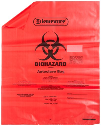 Bel-Art Products 131641923 Biohazard Waste Disposal Bag with Sterilization Indicator Patch, 6 to 9 gal Capacity, Polypropylene, 19
