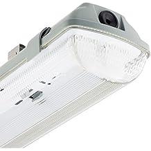 Pantalla Estanca para dos Tubos de LED 600mm PC/PC Conexión un Lateral efectoLED