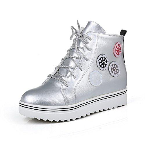 AllhqFashion Damen Rund Zehe Wasserdicht Plattform Knöchel Hohe Gemischte Farbe Stiefel Silber