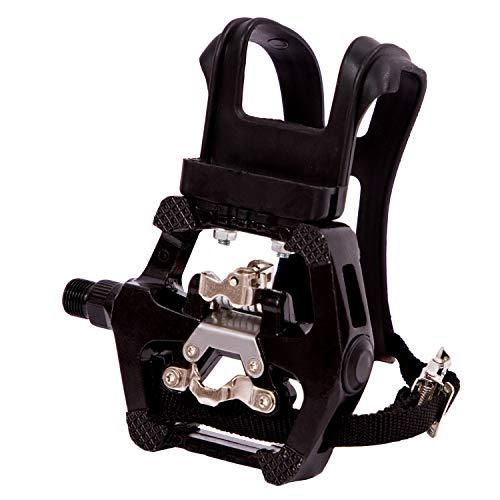 COZYROOMY SPD-Pedale mit Clip und Gürtel-Hybridpedal für Heimtrainer/Dynamometer, Spinning-Bikes und alle Fahrrad mit 9/16 Zoll Spindel. 6 Monate Gewährleistung