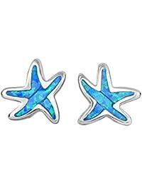 Plata con acabado de rodio creado Opal estrella de mar Post pendientes con empuje cierre