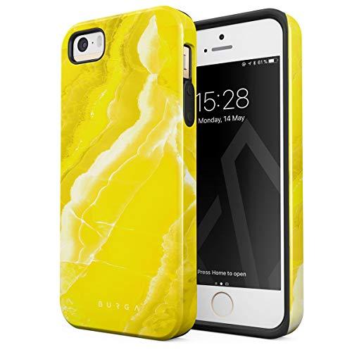 BURGA Hülle Kompatibel mit iPhone 5 / 5s / SE Neon Yellow Marble Citrus Stone Gelb Marmor Zitrusfrüchte Sommer Zitrone Robustes Stoßfestes Doppellagiges Hardcase + Silikon Handyhülle Case Cover (Iphone 5 Case Fashion Girl)