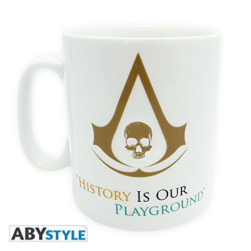 Assassins Creed Black Flag History Tasse zum Video Game mit Edward Kenway und Logo weiß (Black History Videos)