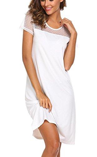 Adomer camicia da notte donna invernale bianco taglia-l