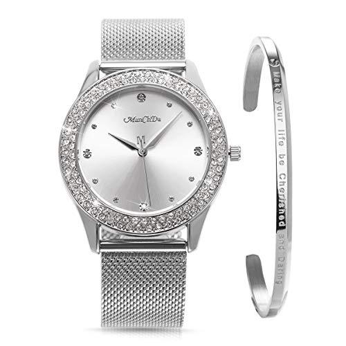 ManChDa Damen Armbanduhr Kristal...