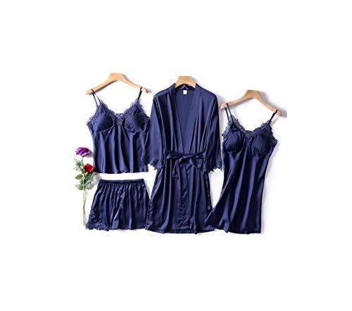 Velours-footy (Dusk Fort Pyjamas Set-Frauen 4pc Rayon Nachtwäsche Set Langarm-V-Ausschnitt,Marineblau A,XXL)