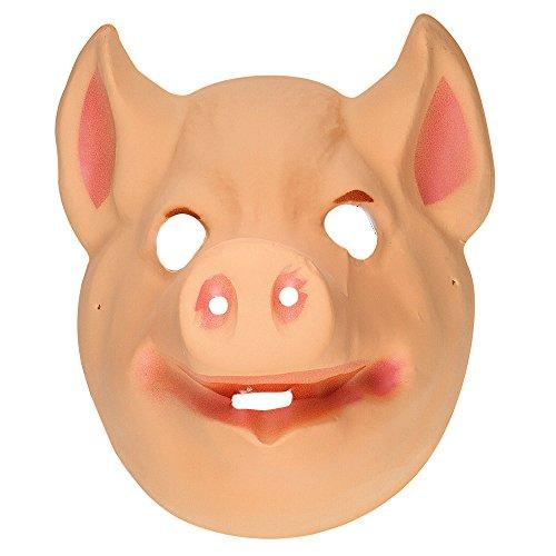 (WIDMANN Kunststoff-Maske für Kinder – Schweine-Tier-Masken, Augenmasken und Verkleidungen für Maskenade, Kostüm-Zubehör)