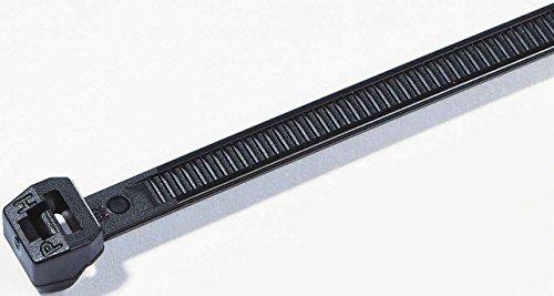 Hellermann Tyton 118–Reparaturmaterial Polyamid Schwarz 100pièce (S) Kabelbinder–Satellitenempfängers (38,4cm, 4,6mm, 1,3mm, 100Stück (S))