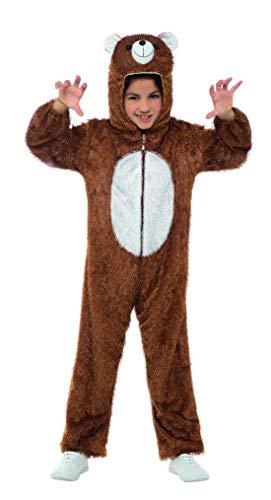 Luxuspiraten - Kinder Jungen Mädchen Kostüm Plüsch Braunbär Bär Teddybär Bear Fell Einteiler Onesie Overall Jumpsuit, perfekt für Karneval, Fasching und Fastnacht, 104-116, (Löwe Tiger Bär Halloween Kostüm)