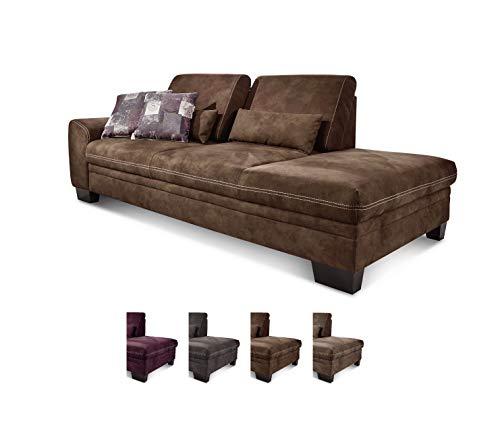 CAVADORE Recamiere Hussum mit Armlehne links / Sofa mit Federkern im Landhausstil / Inkl. verstellbare Sitztiefe  / 228 x 90 x 109 / Braun