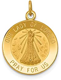 14k Yellow Gold Our Lady Of Loreto Medal Pendant Charm Necklace Religious Lourde Fine Jewelry Gifts For Women - Valentines Day Gifts For Her