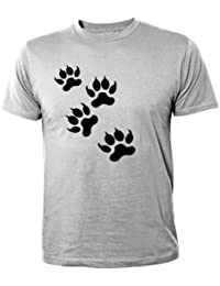 Mister Merchandise Homme Chemise Tee Fun T-Shirt Wolf Wolves Footsteps , Size: XL, Color: Gris