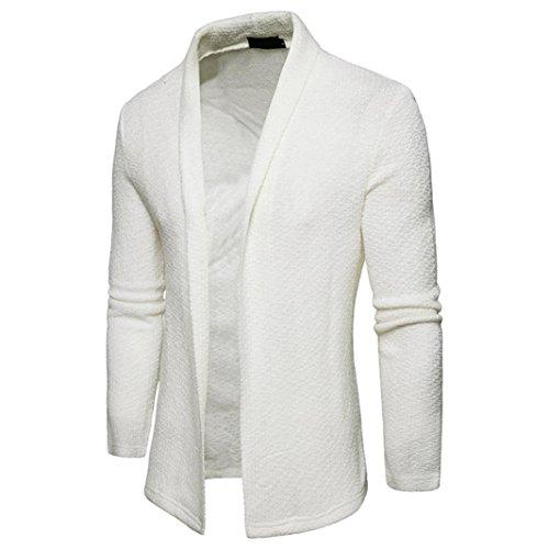 Oyedens Gli Uomini Di Primavera Occasionale A Mosaico Cardigan Maglieria Cappotto Giacca Bianca
