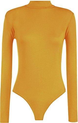 Re Tech UK - Damen Body mit hohem Kragen - langärmlig - Stretchmaterial - einfarbig - Senfgelb - 40-42
