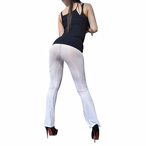 YiZYiF Transparente Leggings Damen Netz Bell-Bottom Hosen Reizwäsche Dessous Erotik Unterwäsche M XL Weiß XL