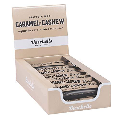 Barebells Proteinriegel 12x55g Caramel Cashew Proteinreich Kohlenhydratarm Kaum Zucker 20 Gramm Protein pro 55-Gramm-Riegel Köstliche Proteinriegel für Muskelaufbau und -regeneration