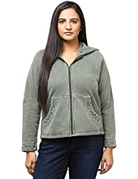 GRAIN Olive Color Regular fit Cotton Jackets for Women