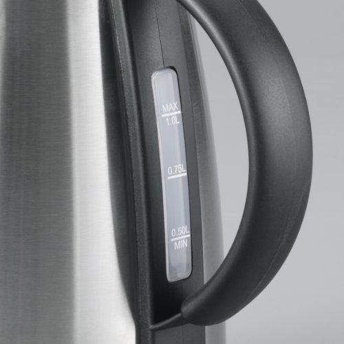 Severin WK 3348 Wasserkocher / 1350 Watt/Inhalt 1 Liter/doppelwandiges Edelstahlgehäuse/edelstahl-schwarz
