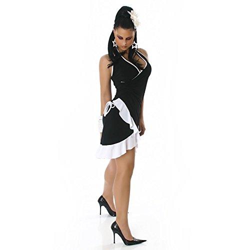 Robe femmes courte d'été Sexy avec volants Rose Taille unique 8, 10, 12, 14–Taille unique-EU 36, 38, 40, 42 Noir - Noir
