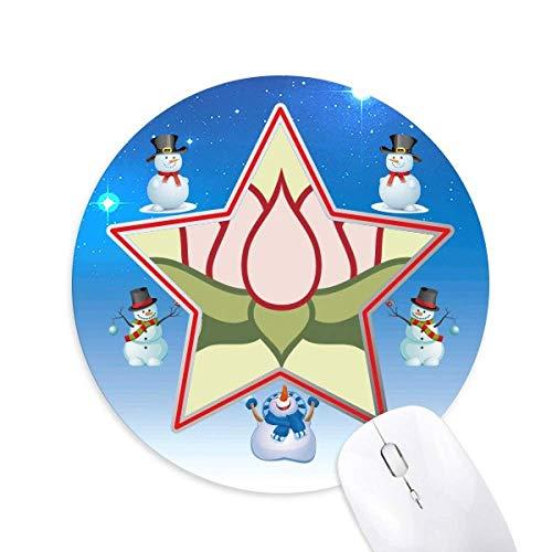 Lotus Buddhismus China Muster Schneemann Maus Pad Round Star Mat
