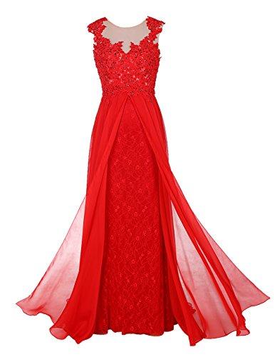 Bbonlinedress Robe de cérémonie Robe de soirée en mousseline dentelle avec traîne Rouge