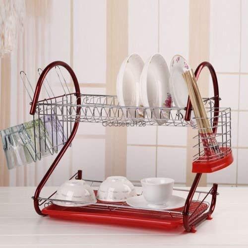 Küche Aufbewahrung Rot 2Etagen Abtropfgestell, Edelstahl Trocknen Rack Space Saver - Space Saver Wasser